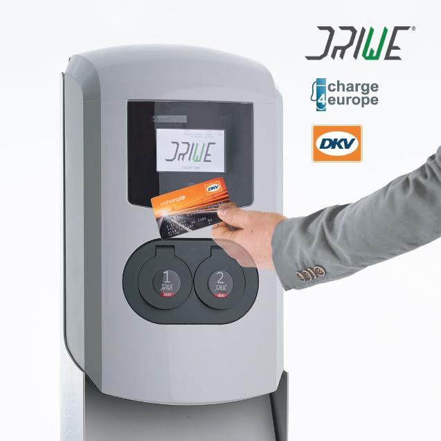 """La nuova era del """"carburante elettrico"""" accelera la sua fase di diffusione in tutta Europa: dal 14 febbraio le colonnine di ricarica DriWe accettano la DKV CARD +Charge , attraverso…"""